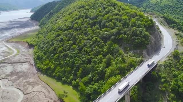 Lorries On A Bridge: Stock Video