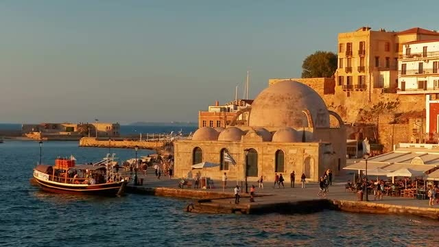 Sunset In Chania Promenade, Crete, Greece: Stock Video