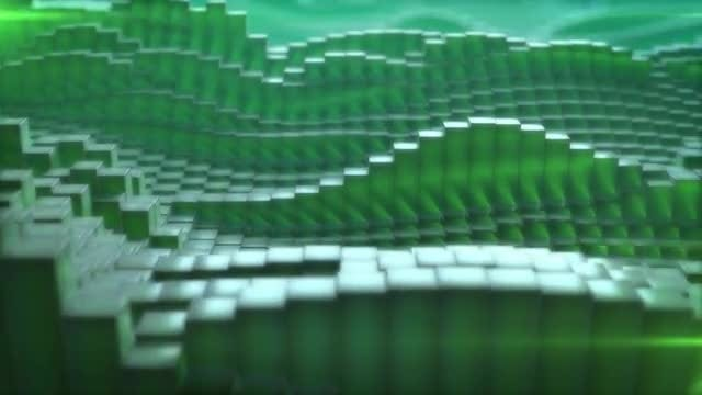Green Cubic Abstract Background: Stock Motion Graphics