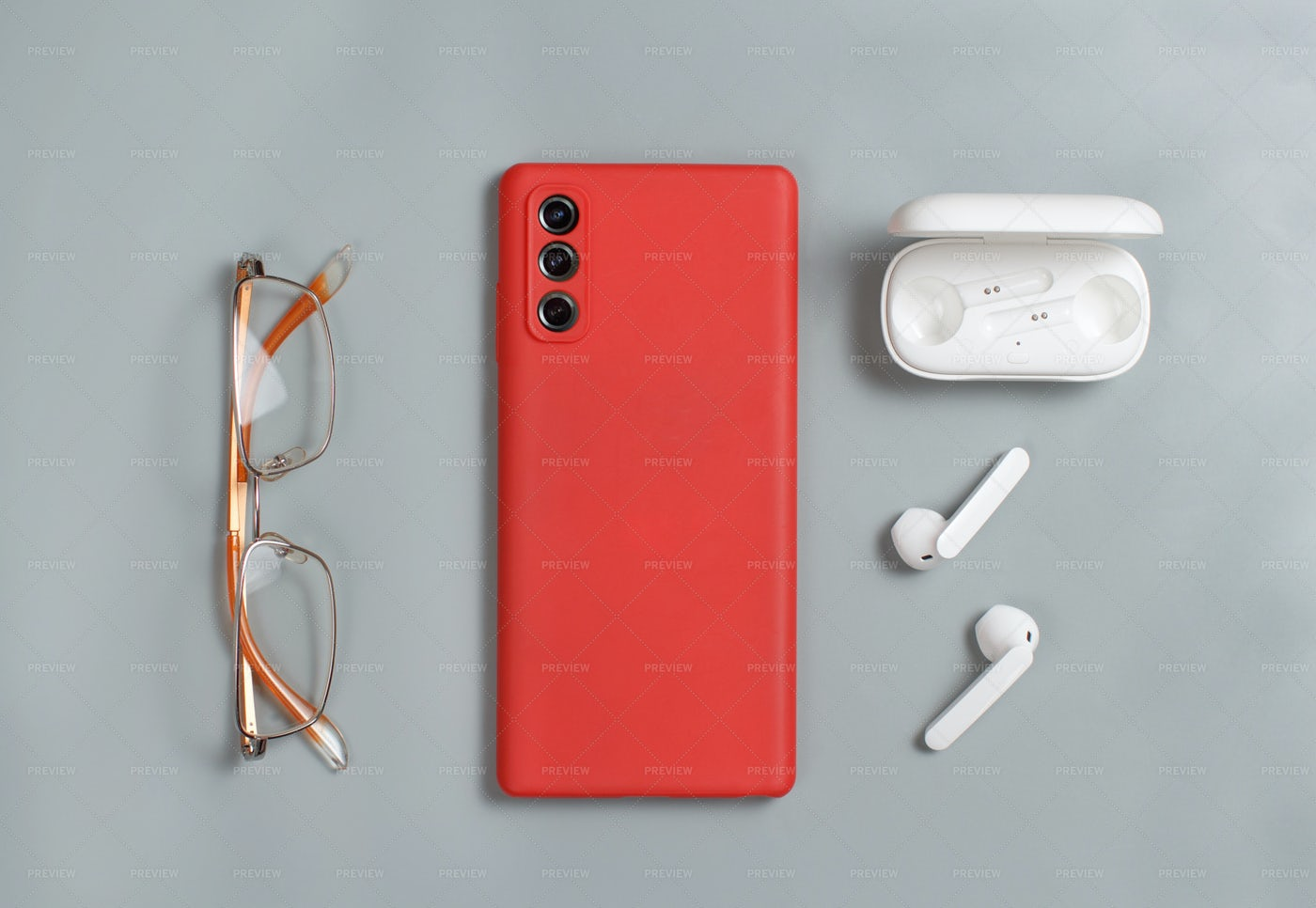 Smartphone, Glasses And Earphones: Stock Photos