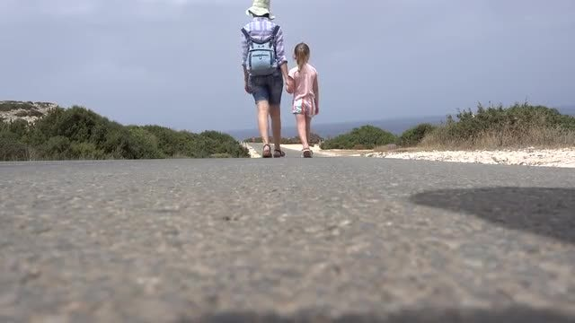 Mother And Daughter Walking: Stock Video