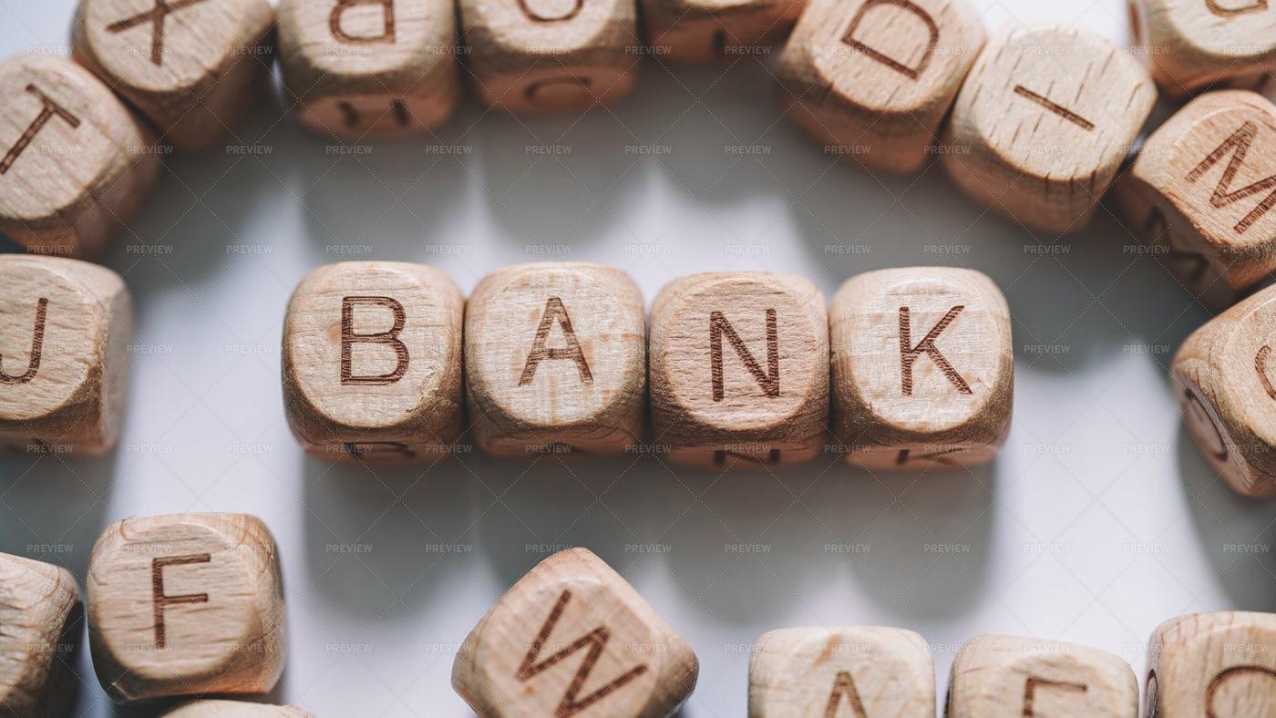 Bank Word Concept Wooden Blocks: Stock Photos