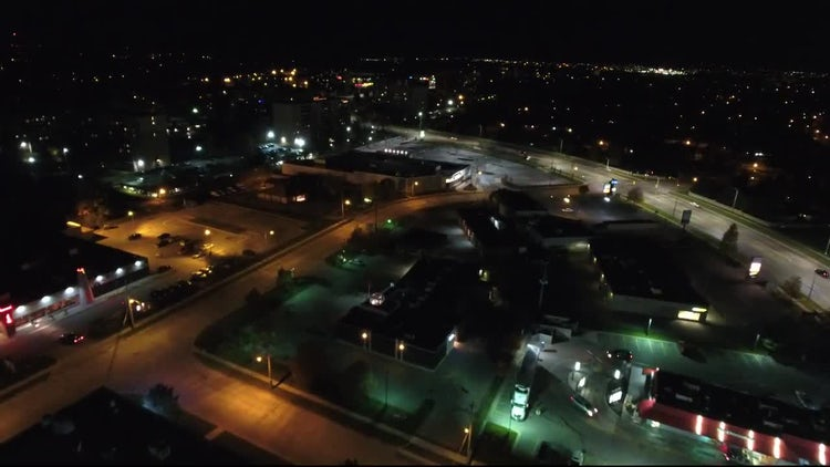Aerial View Of Suburban Shopping Plaza: Stock Video
