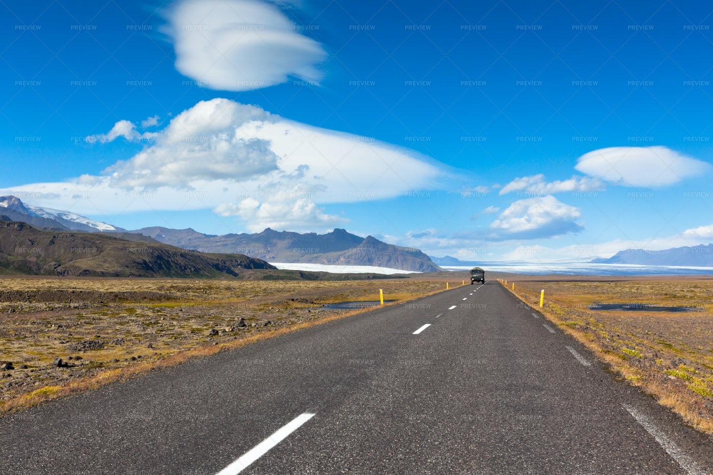 Highway Through Icelandic Landscape: Stock Photos