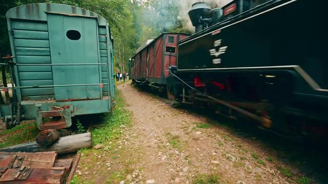 Low-angle Shot of a Steam Train: Stock Video