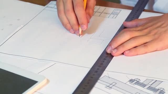Engineer Drawing For New Project: Stock Video