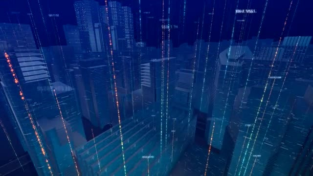 High-Tech Digital Data City Buildings: Stock Motion Graphics