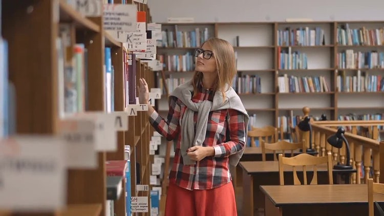 Chosing a Book in Library: Stock Video