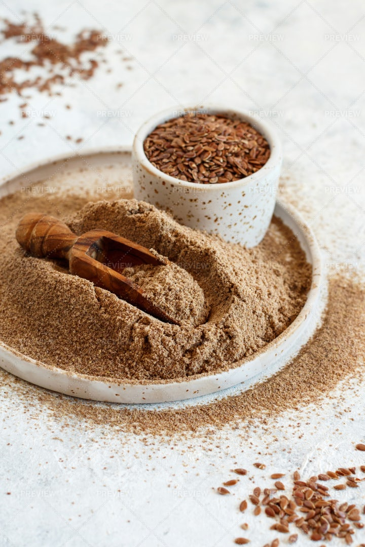 Plate Of Flax Seeds Flour: Stock Photos