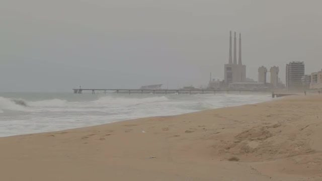 Power Plant Near The Sea: Stock Video