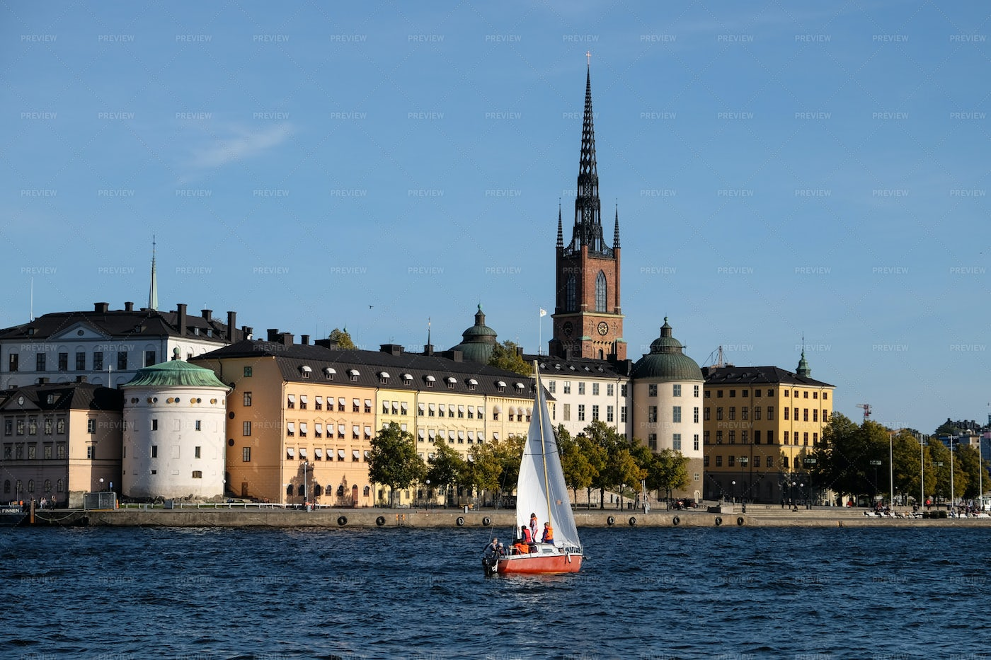 Center Of Stockholm And Boat: Stock Photos