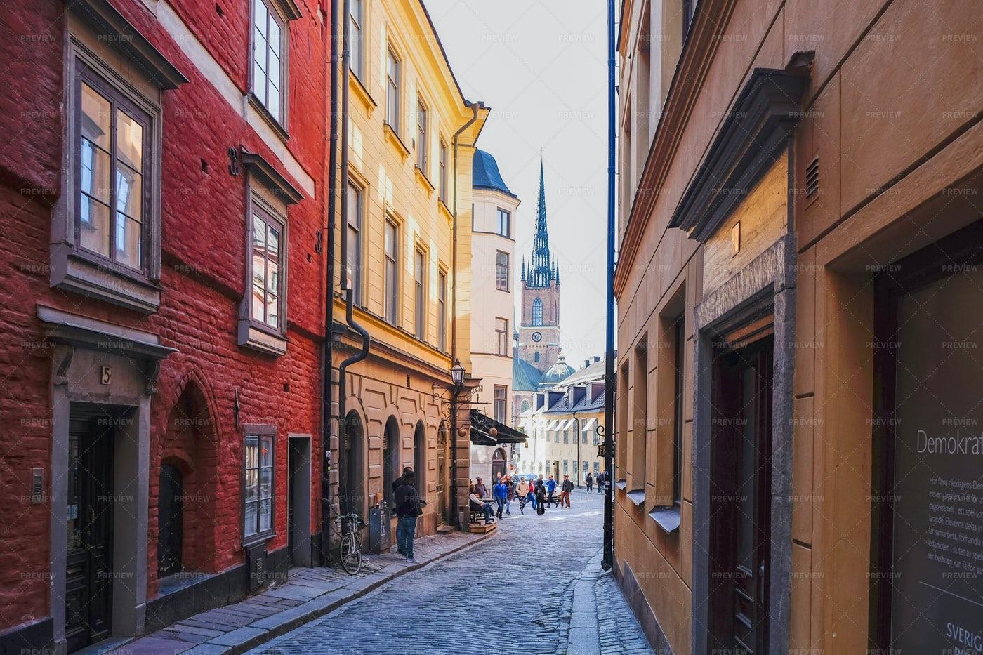 Narrow Street In Stockholm: Stock Photos
