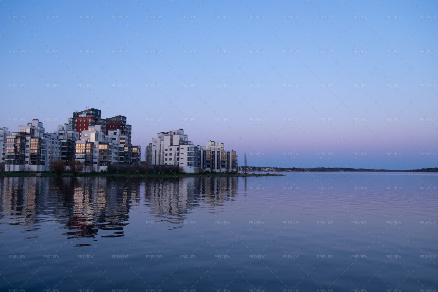 Apartment Buildings On Lake: Stock Photos