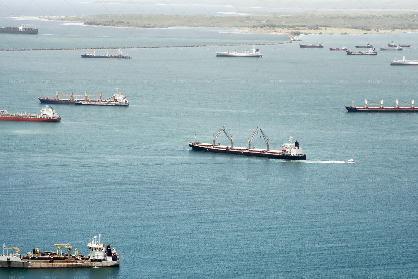 Aerial View Of Large Cargo Ships: Stock Photos