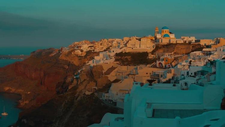 Postcard Of Santorini At Dawn: Stock Video