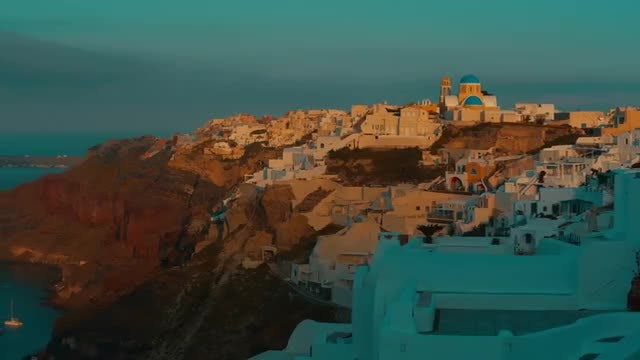 Postcard Of Santorini At Dawn: Stock Video