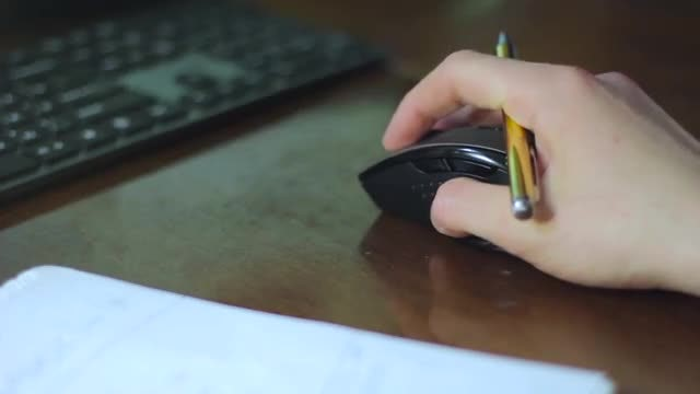 Mouse And Pen In Hand : Stock Video