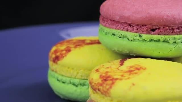 Macarons Closeup Slowly Rotating : Stock Video