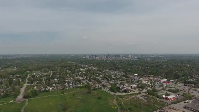 Flying Towards Downtown City Core: Stock Video