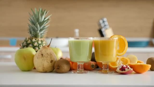 Fresh Smoothies And Fruits: Stock Video