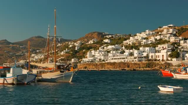 The Old Port of Mykonos: Stock Video