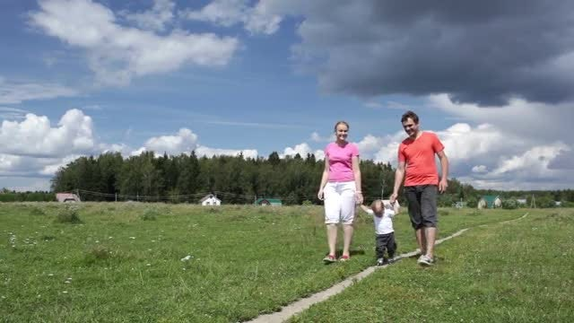 Young Family Outdoors: Stock Video