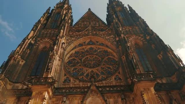 The Facade Of St. Vitus Cathedral, Prague: Stock Video