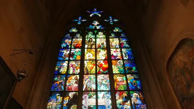 Stained-Glass Window In St Vitus Cathedral, Prague: Stock Video