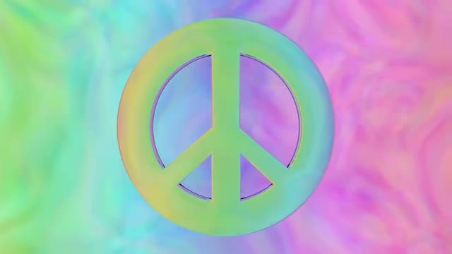 Retro Psychedelic Peace Sign: Stock Motion Graphics