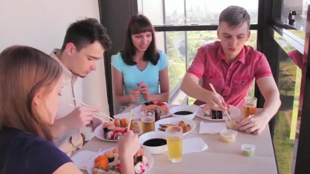 Friends Eating Asian Food: Stock Video