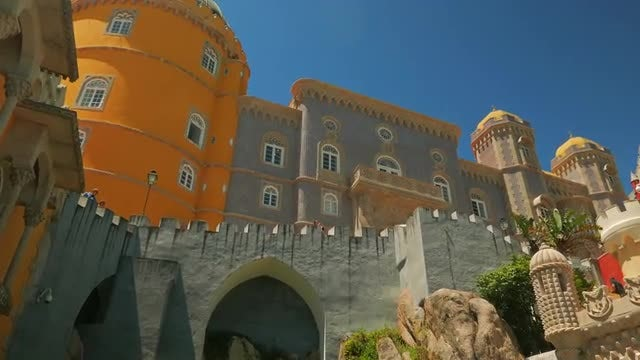 Establishing Shot Of Pena Palace, Portugal: Stock Video