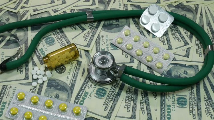 Dollar Bills And Medical Drugs: Stock Video