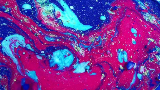 Red-Blue Paints Oil Reaction: Stock Video