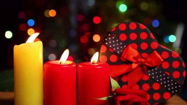 Candles And Surprise Gift Box: Stock Video