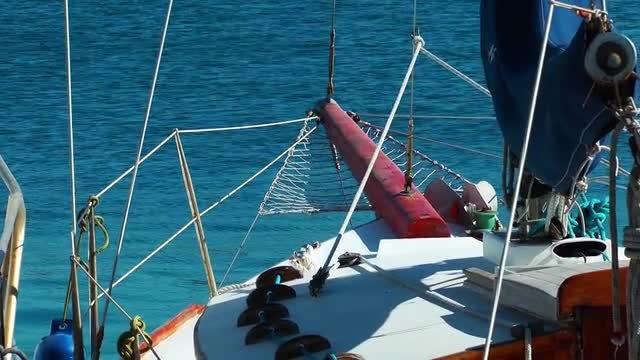 Yacht Sailing Through The Sea : Stock Video