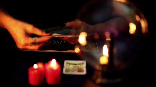 Fortune Teller With Tarot Cards : Stock Video