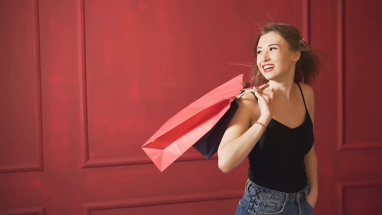 Beautiful Girl With Shopping Bags: Stock Video
