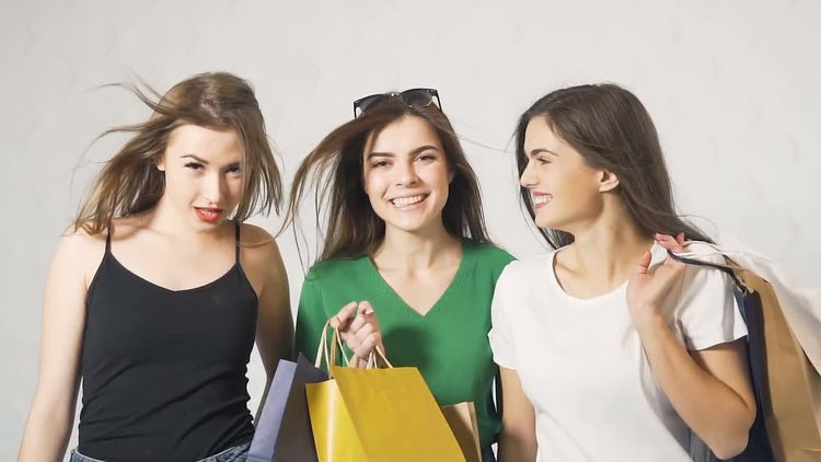 Girls With Shopping Bags Walking: Stock Video