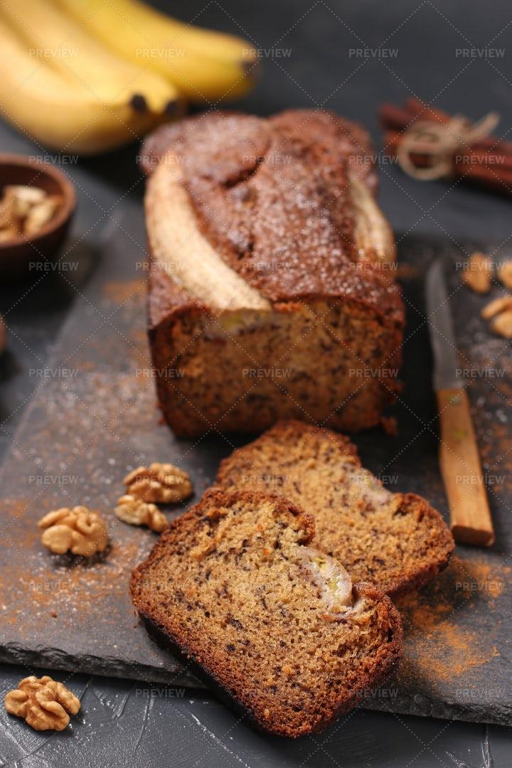 Homemade Banana Bread With Walnut: Stock Photos