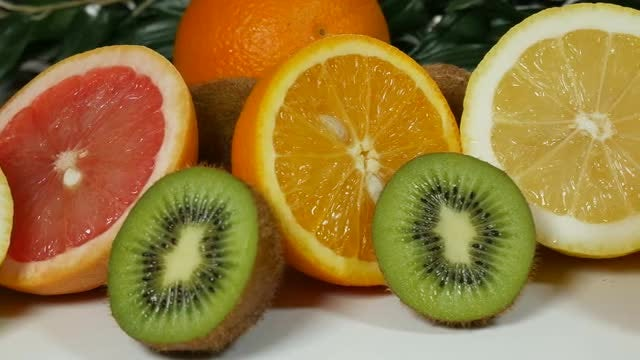 Pieces Of Fruits On Table: Stock Video