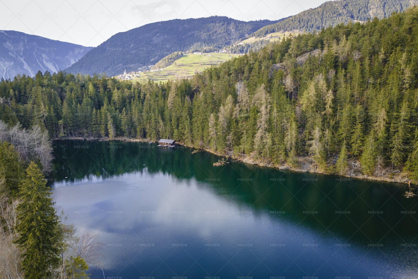 Aerial Of Piburger Lake: Stock Photos