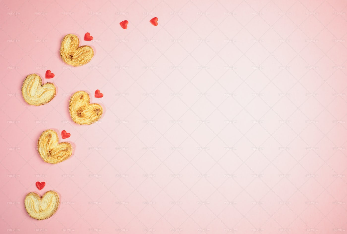 Cookies-Hearts On Pink Top View.: Stock Photos
