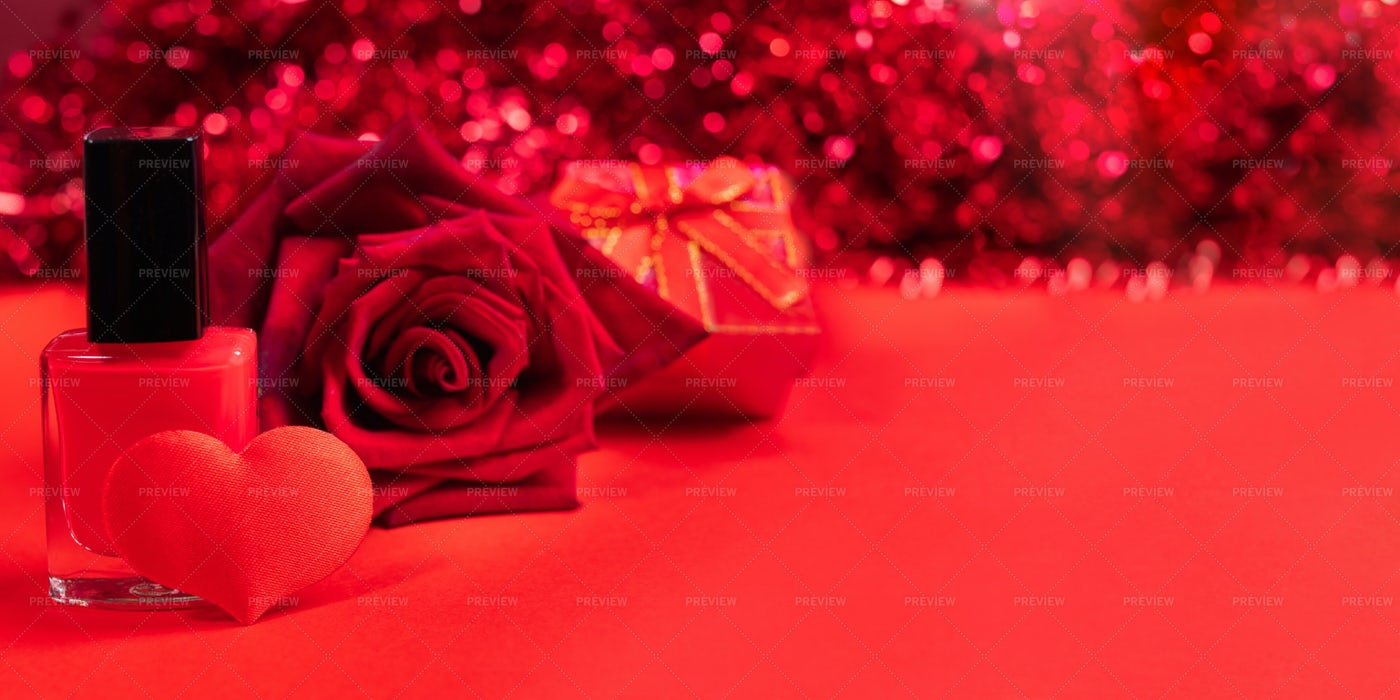 Red Valentines Day Banner.: Stock Photos