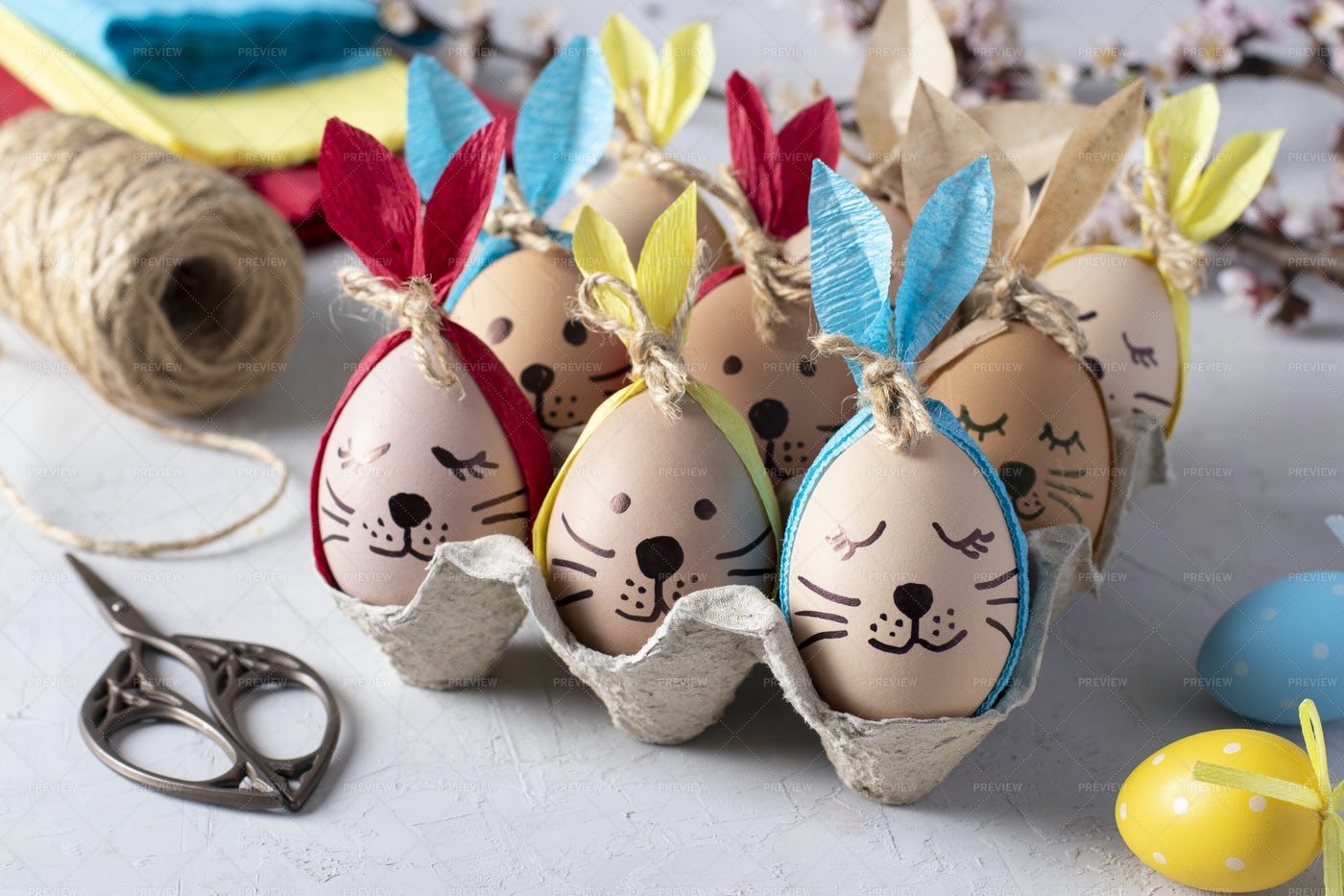 Easter Bunnies Made Of Eggs: Stock Photos