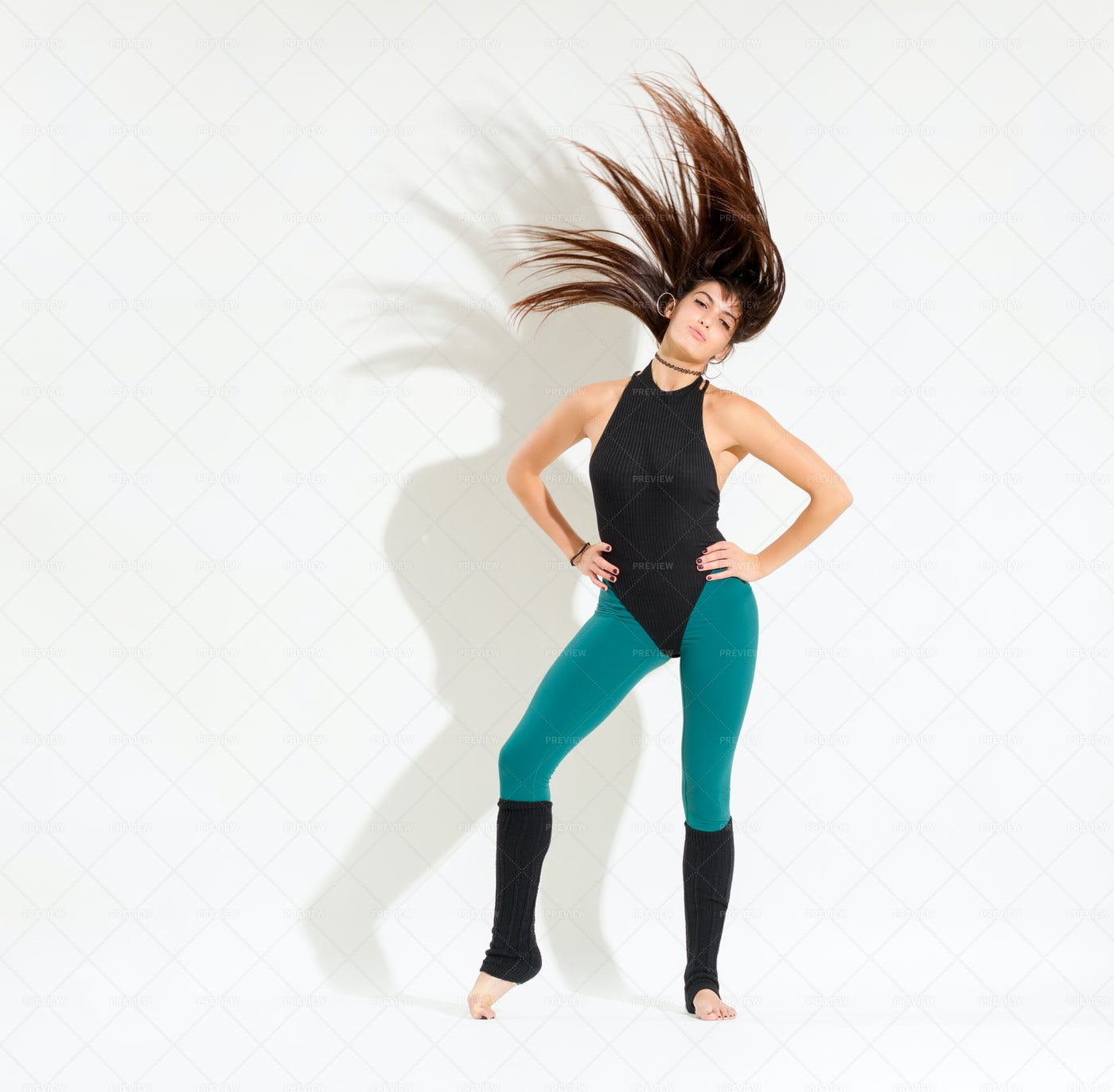 Young Dancer In An 80s Outfit: Stock Photos