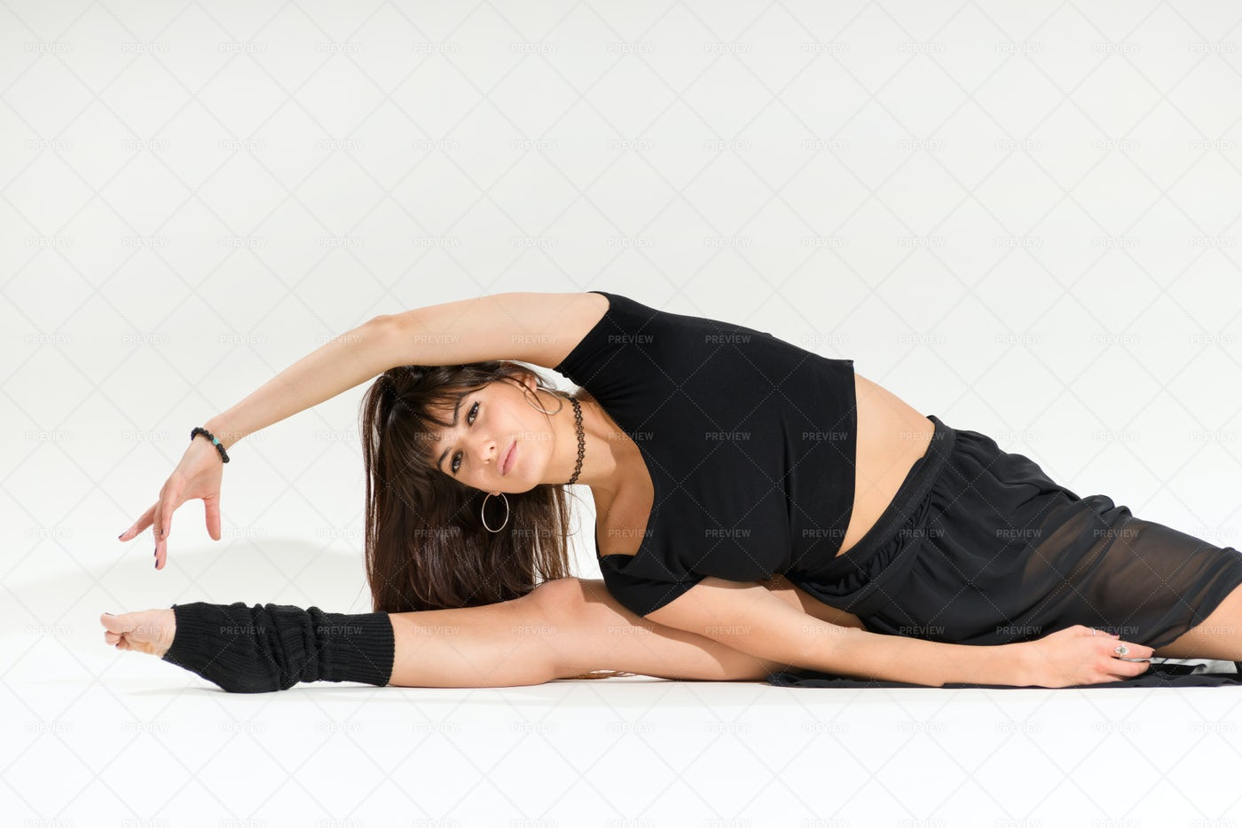 Young Dancer Doing A Middle Split: Stock Photos