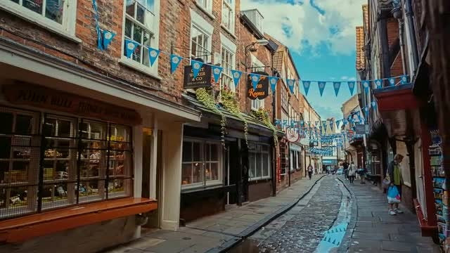 Establishing Shot Of The Shambles, York, England: Stock Video