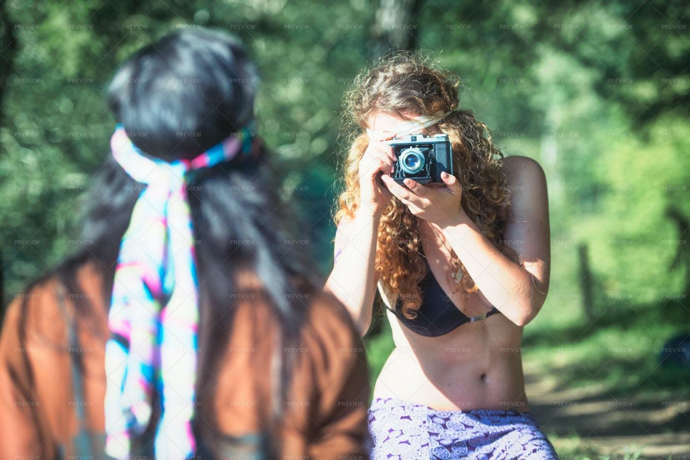 Hippie Woman Taking Pictures: Stock Photos