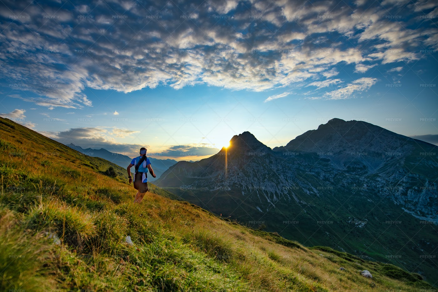 Runner In The Mountains: Stock Photos