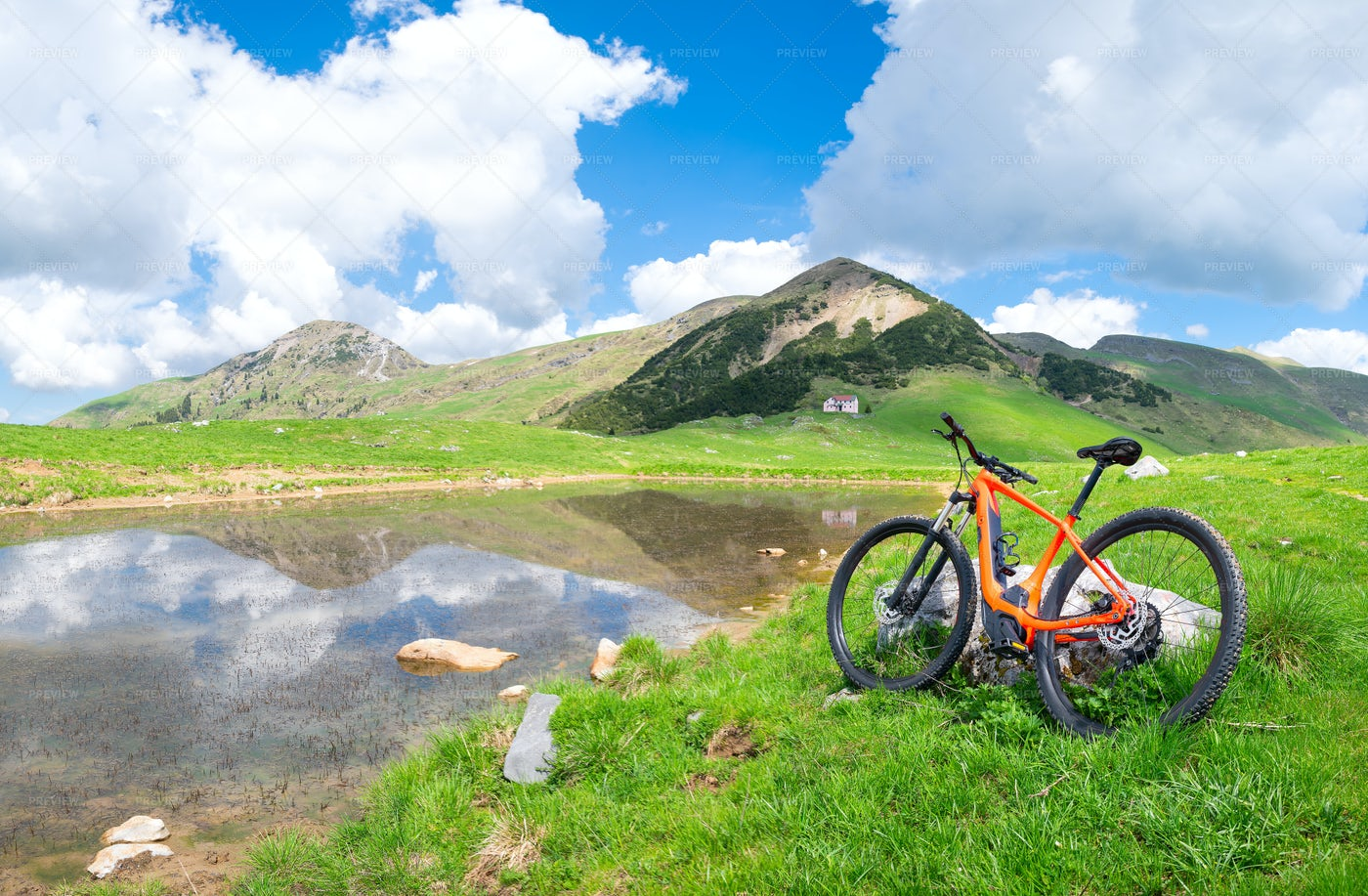 Bike Near An Alpine Lake: Stock Photos